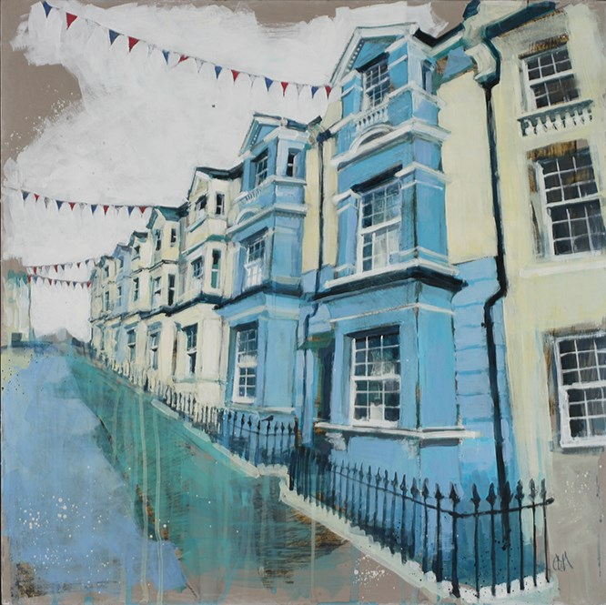 Street Party II by camilla dowse -  sized 24x24 inches. Available from Whitewall Galleries